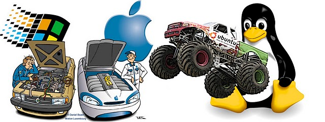windows vs mac vs linux carros humor