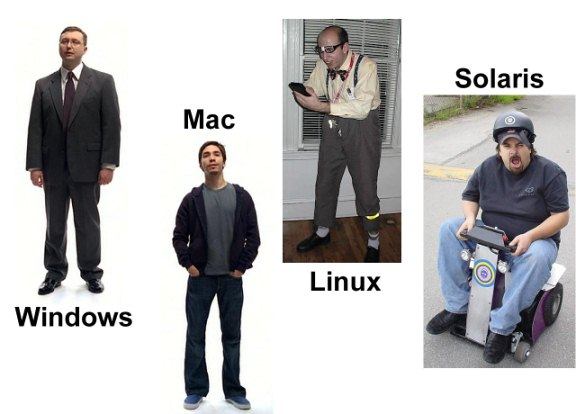 windows vs linux vs mac vs solaris humor