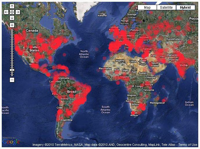mapa spam mundo