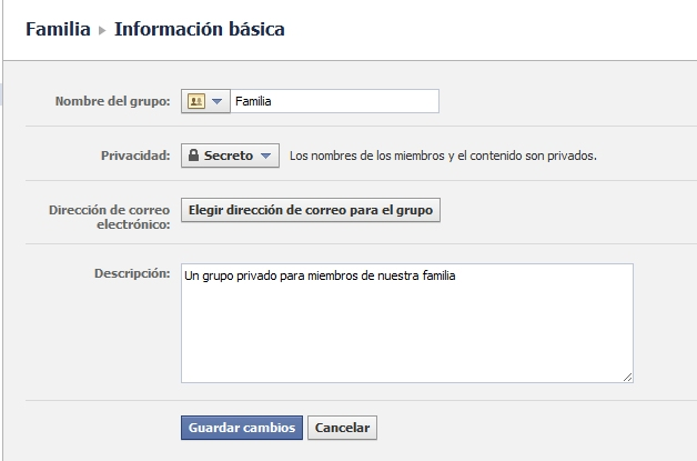 editar grupo facebook