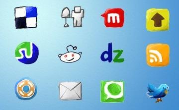 iconos sociales dibujados a mano