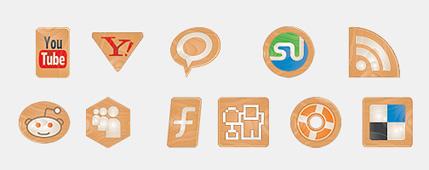 iconos sociales madera