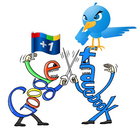 facebook google plus twitter versus