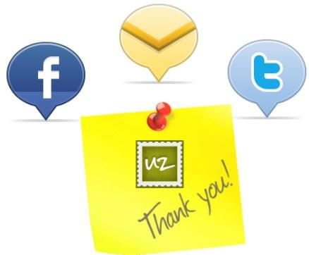 thankuz web aplicacion facebook twitter mail