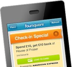 foursquare especial check in dinero