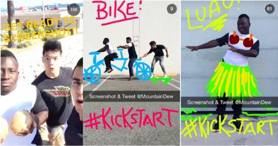 Snapchat Mountain Dew Kickstart marketing